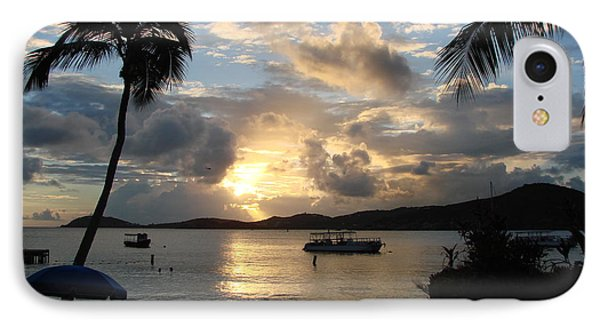 Sunset Over The Inifinity Pool At Frenchman's Cove In St. Thomas IPhone Case by Margaret Bobb