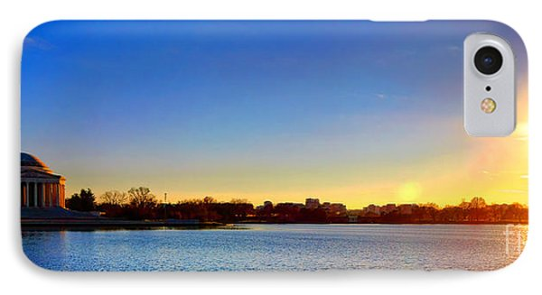 Jefferson Memorial iPhone 7 Case - Sunset Over The Jefferson Memorial  by Olivier Le Queinec
