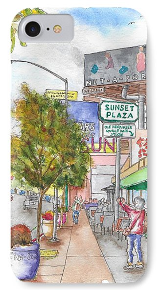 Sunset Plaza, Sunset Blvd., And Londonderry, West Hollywood, California IPhone Case