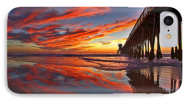 Sunset Reflections At The Imperial Beach Pier IPhone Case by Sam Antonio Photography