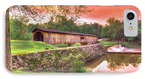 Sunset Reflections Watson Mill Covered Bridge IPhone Case