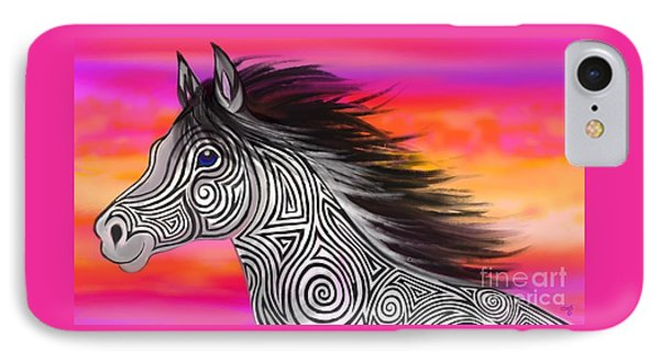 IPhone Case featuring the painting Sunset Ride Tribal Horse by Nick Gustafson
