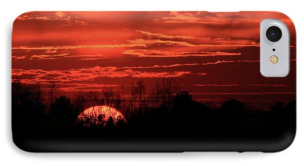 Sunset Silhouettes Forest Fire Art IPhone Case