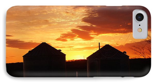 IPhone Case featuring the digital art Sunset Silos by Jana Russon