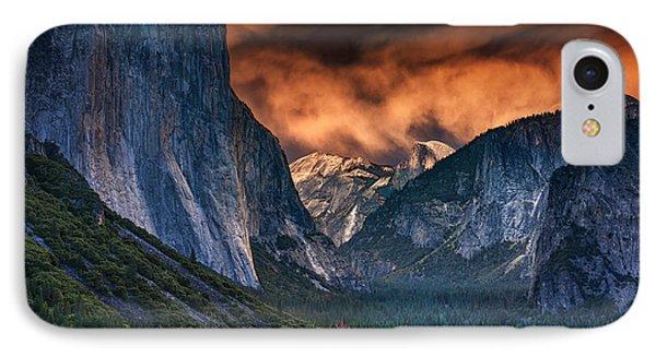 Sunset Skies Over Yosemite Valley IPhone 7 Case by Rick Berk