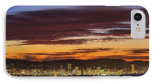 Sunset Sky Over Portland Oregon City Skyline Phone Case by David Gn