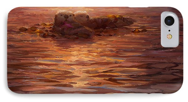Otter iPhone 7 Case - Sunset Snuggle - Sea Otters Floating With Kelp At Dusk by Karen Whitworth