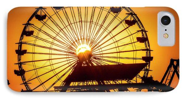 Venice Beach iPhone 7 Case - Sunset Through Ferris Wheel by Garry Gay