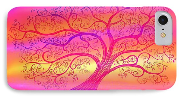 IPhone Case featuring the painting Sunset Tree Cats by Nick Gustafson