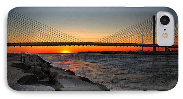 Sunset Under The Indian River Inlet Bridge IPhone Case by Bill Swartwout
