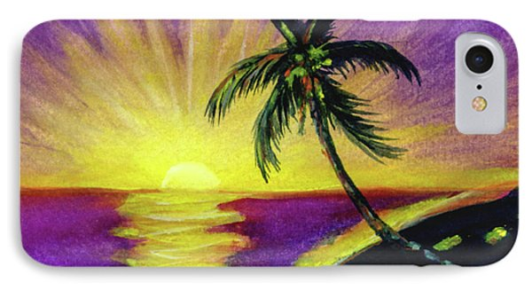 Sunset Water Color Footprints #26 Phone Case by Donald k Hall