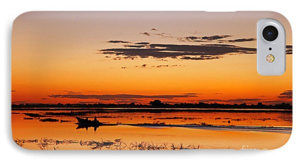Sunset With Boat At Chobe River, Botsuana IPhone Case by Wibke W