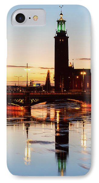 Sunset With Cityhall Of Stockholm IPhone Case by Anastasy Yarmolovich