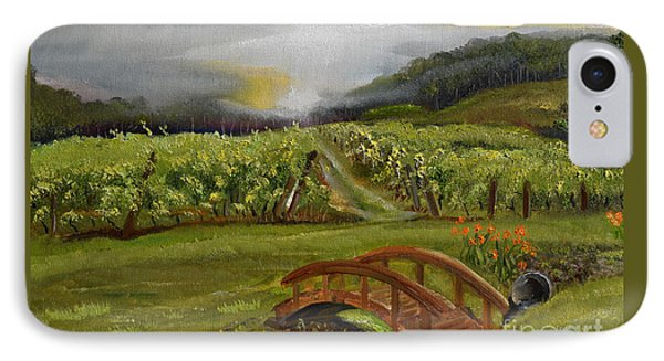 IPhone Case featuring the painting Sunshine Bridge At The Cartecay Vineyard - Ellijay Ga - Vintner's Choice by Jan Dappen