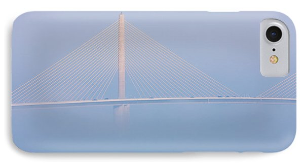 Sunshine Skyway Bridge In Fog I IPhone Case by Clarence Holmes
