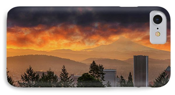 Sunsrise Over City Of Portland And Mount Hood Phone Case by David Gn