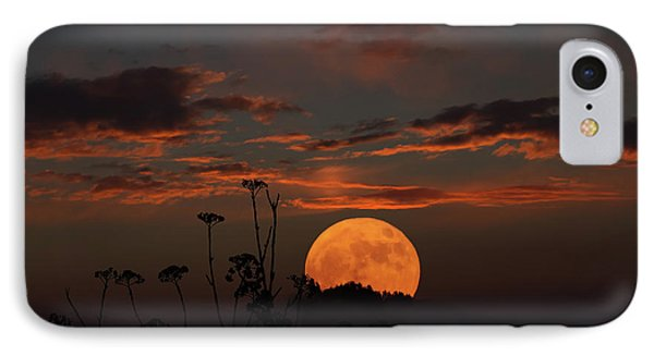 Super Moon And Silhouettes IPhone Case by John Haldane