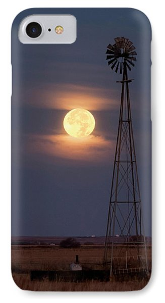 Super Moon And Windmill IPhone Case by Rob Graham