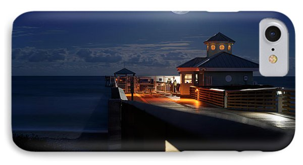 IPhone Case featuring the photograph Super Moon At Juno Pier by Laura Fasulo