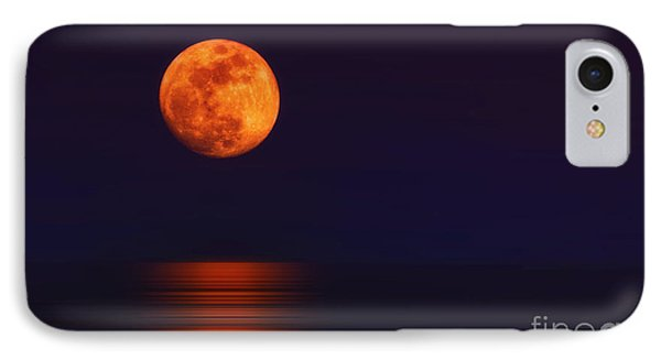 Super Moon Rising Over Water IPhone Case by Charline Xia