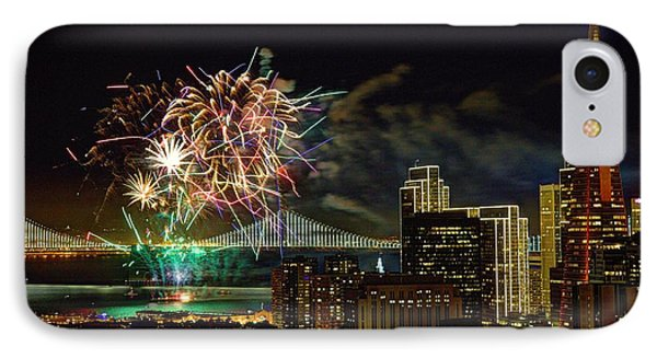 Superbowl 50 Fireworks From Atop Russian Hill IPhone Case by John King