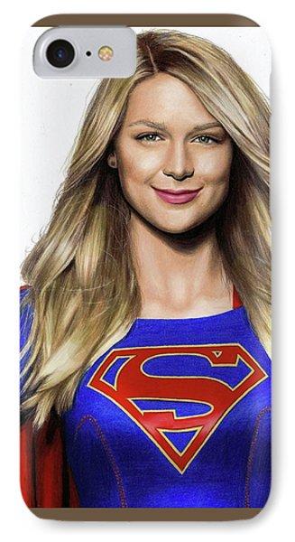 Supergirl Drawing IPhone Case by Jasmina Susak