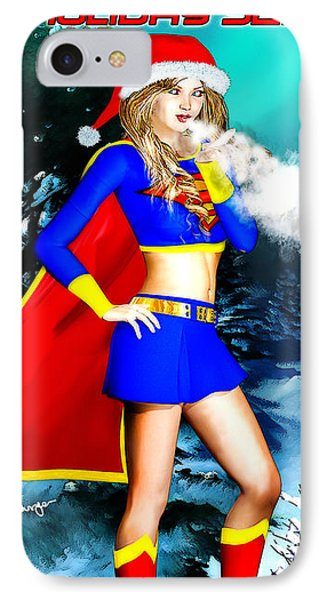 Supergirl Holiday Greeting Card IPhone Case by Alicia Hollinger