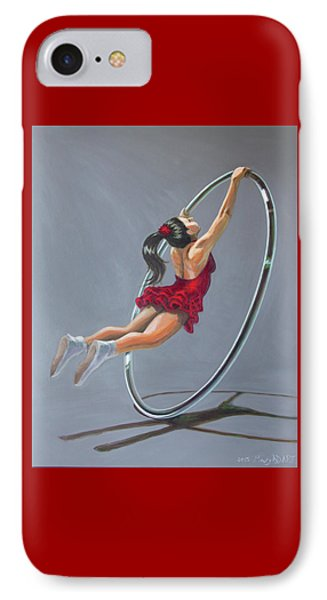 Supergirl On Cyr Wheel  IPhone Case by MAD Art and Circus