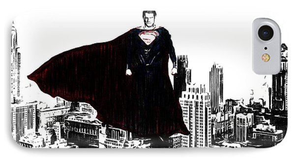 Superman In Manhattan Comic Charcoal IPhone Case