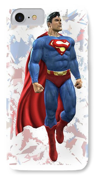 IPhone Case featuring the mixed media Superman Splash Super Hero Series by Movie Poster Prints