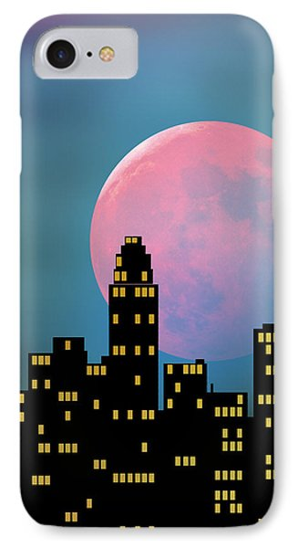 Supermoon Over The City IPhone Case by Klara Acel