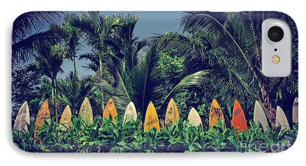 IPhone Case featuring the photograph Surf Board Fence Maui Hawaii Vintage by Edward Fielding