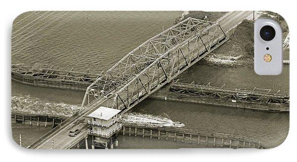 Surf City Swing Bridge Sepia IPhone Case by Betsy Knapp