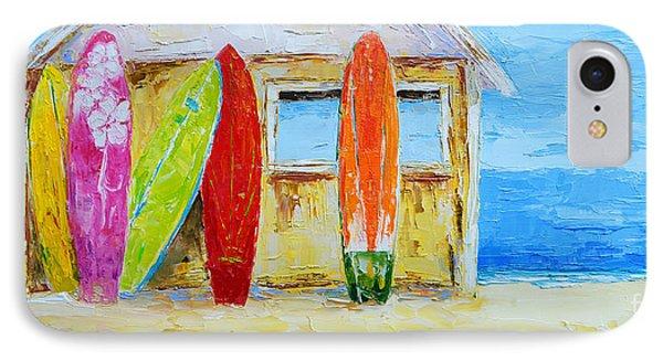 Surf Board Rental Shack At The Beach - Modern Impressionist Palette Knife Work IPhone Case