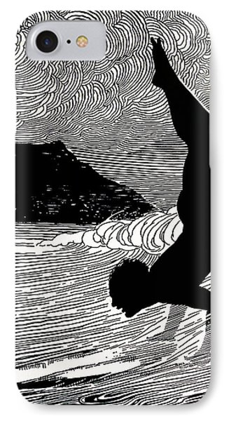 Surfer And Waikiki Phone Case by Hawaiian Legacy Archive - Printscapes