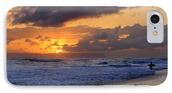Surfer At Sunset On Kauai Beach With Niihau On Horizon IPhone Case