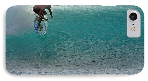 Surfer Dropping In The Blue Waves At Dumps Maui Hawaii Phone Case by Pierre Leclerc Photography