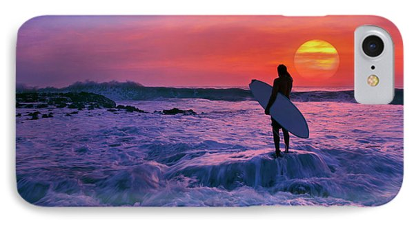 Surfer On Rock Looking Out From Blowing Rocks Preserve On Jupiter Island IPhone Case by Justin Kelefas
