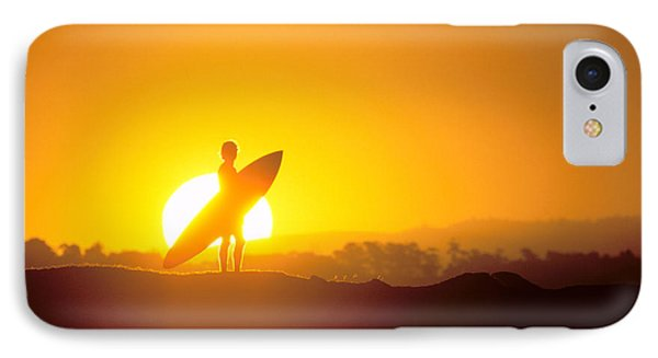 Surfer Silhouetted At Sun Phone Case by Erik Aeder - Printscapes