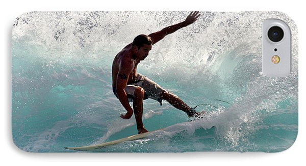 Surfer Slashing The Blue Waves At Dumps Maui Hawaii Phone Case by Pierre Leclerc Photography