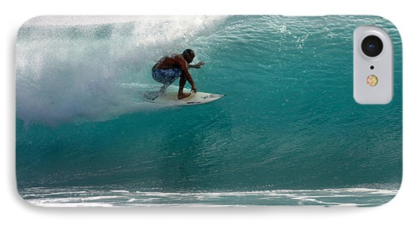 Surfer Surfing In The Tube Of Blue Waves At Dumps Maui Hawaii Phone Case by Pierre Leclerc Photography