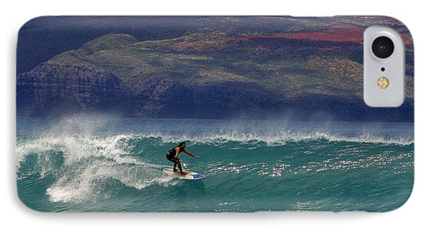 Surfer Surfing The Blue Waves At Dumps Maui Hawaii Phone Case by Pierre Leclerc Photography