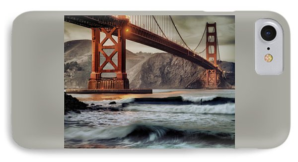 Surfing The Shadows Of The Golden Gate Bridge IPhone Case by Steve Siri
