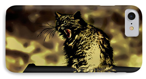Surreal Cat Yawn IPhone Case by Gina O'Brien