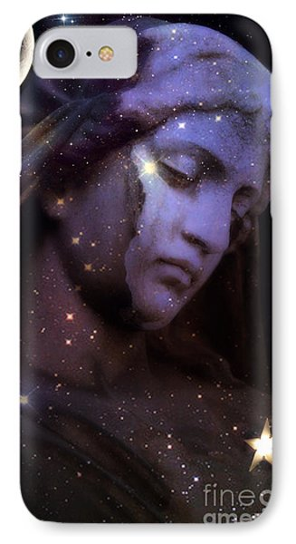 Surreal Celestial Angelic Face With Stars And Moon - Purple Moon Celestial Angel  IPhone Case by Kathy Fornal