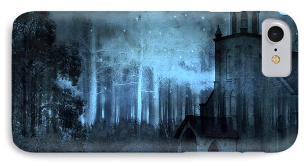 Surreal Church In Woods Blue Moon Starry Full Moon Night  IPhone Case
