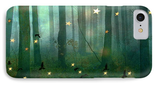 Surreal Dreamy Fantasy Nature Fairy Lights Woodlands Nature - Fairytale Fantasy Forest Woodlands  IPhone Case by Kathy Fornal