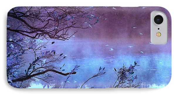 Surreal Fantasy Purple Fall Autumn Nature Scene IPhone Case by Kathy Fornal