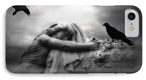 Surreal Gothic Cemetery Angel Mourning Figure With Black Ravens  IPhone Case