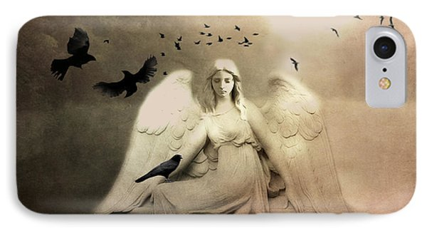 Surreal Gothic Cemetery Angel With Flying Ravens - Ethereal Surreal Gothic Angel Art IPhone Case